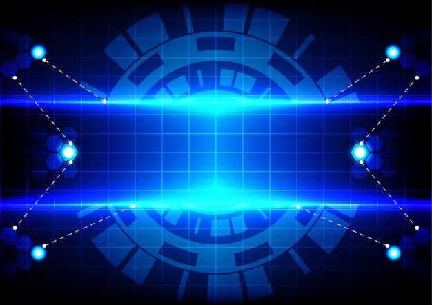 Hexagrama círculo abstrato e tecnologia de efeito azul claro