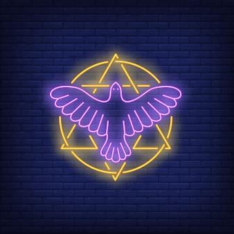 Hexagrama em círculo com sinal de néon de pássaro