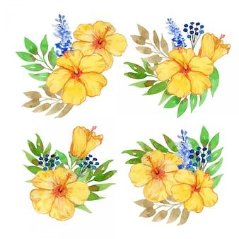 Hibisco amarelo aquarela e conjunto de ilustração de lavanda azul