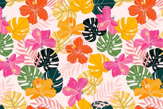 Hibisco e monstera folhas padrão tropical design. textura colorida verão vibrante. flores exóticas e ramos de palmeiras tropicais. têxteis, tecidos e artigos de papelaria desenham o plano de fundo. padrão elegante
