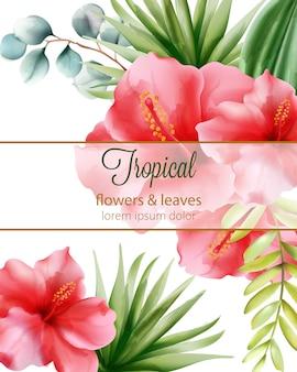 Hibisco vermelho. folhas de palmeira. flores tropicais e folhas com lugar para texto