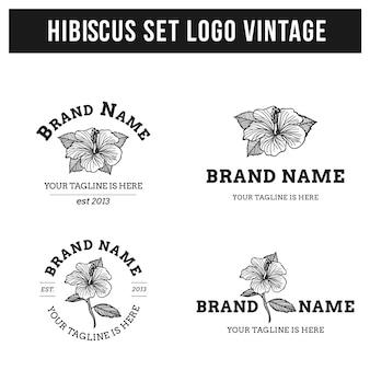 Hibiscus set logo vintage mão desenhada