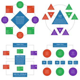 Hierarchy diagrams fluxograma vector infográficos conjunto