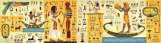 Hieróglifo egípcio e símbolo a cultura antiga canta e simboliza. mural do egito antigo. mitologia egípcia.