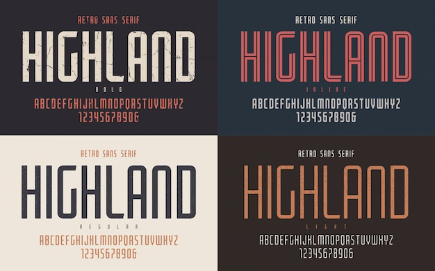 Highland condensed bold inline regular e light retro ty