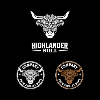 Highlander touro logotipo vintage. design de logotipo da mascote
