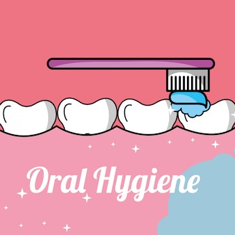 Higiene bucal escovar dente e gengiva dentro da boca