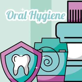 Higiene bucal floss dental proteção bucal