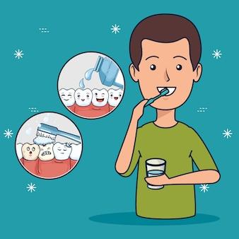 Higiene do paciente com escova de dentes e enxaguatório bucal