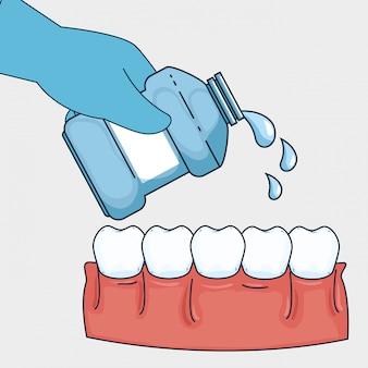 Higiene dos dentes com equipamentos para lavagem da boca