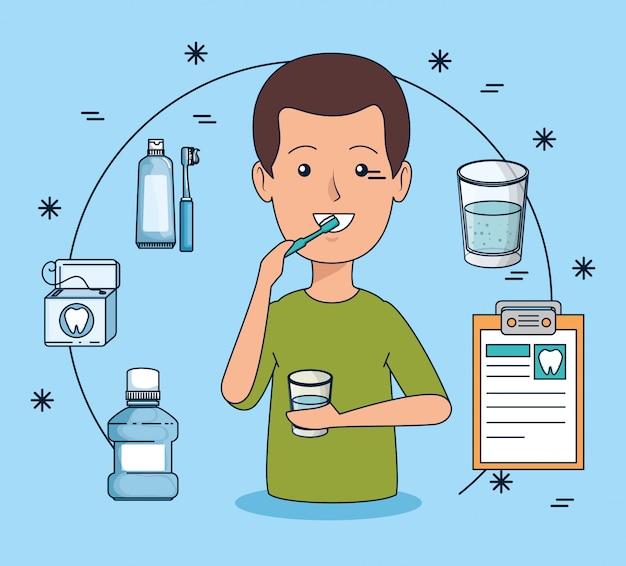 Higiene dos dentes do homem com escova de dentes e enxaguatório bucal