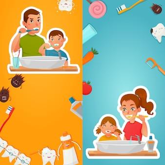 Higiene familiar de banners verticais de dentes