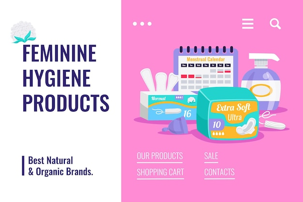 Higiene feminina produtos orgânicos naturais plana publicidade banner de venda com tampões de calendário menstrual almofadas forros de calcinha