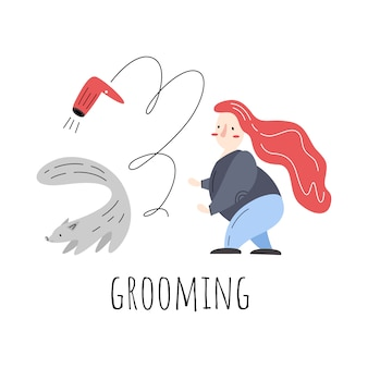 Higiene. ilustração vetorial com secador de mulher, cão e cabelo.
