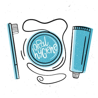 Higiene oral. ilustração em estilo desenhado à mão.