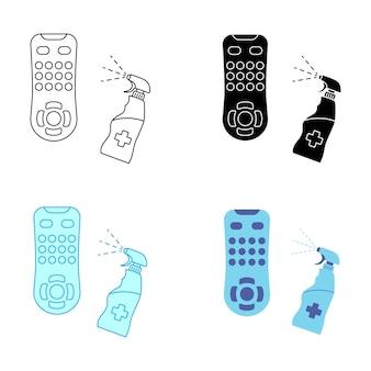 Higienização do controle remoto da tv. desinfecção remota. desinfecção do dispositivo portátil de tv com desinfetante médico. higienização de itens domésticos de uso diário. prevenindo o conceito de propagação de vírus. spray antibacteriano. vetor