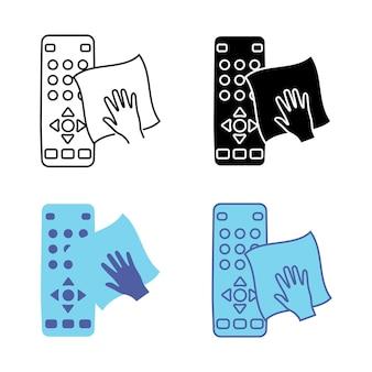Higienização do controle remoto da tv limpeza do contorno do controle remoto glifo e ícone de vetor de cor azul
