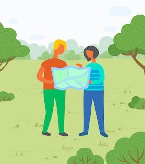 Hikers, com, mapa, em, parque cidade, par, ligado, prado