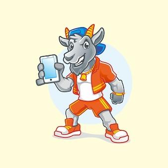 Hip hop funky goat segurando um desenho vetorial de mascote de smartphone