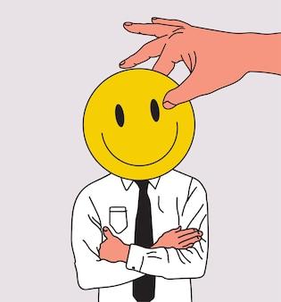 Hipocrisia ou mentira ou conceito de fraude e falta de sinceridade com vendedor ou empresário