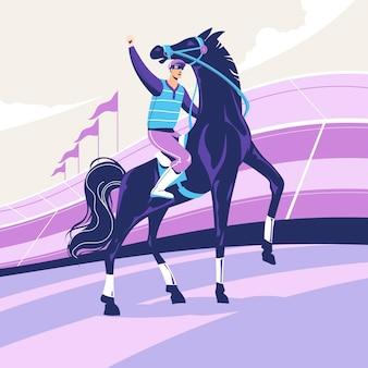 Hipódromo com ilustração equestre e cavalo