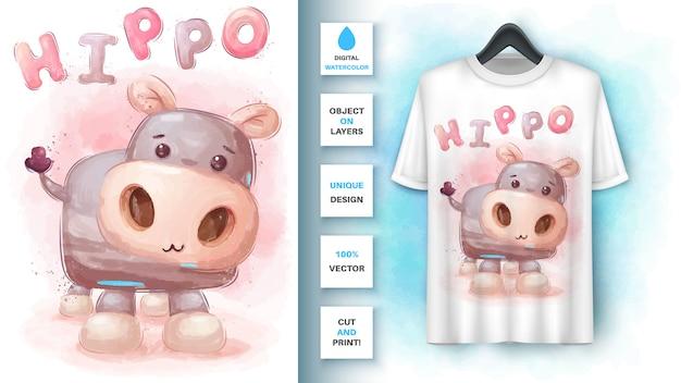 Hipopótamo aquarela - cartaz e merchandising