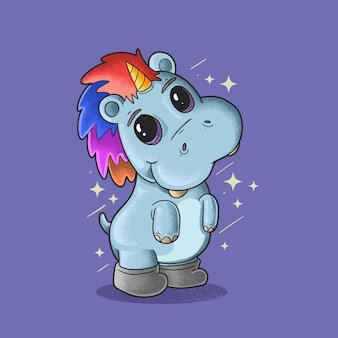 Hipopótamo arco-íris o vetor de ilustração de estilo grunge de unicórnio