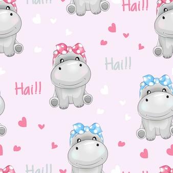 Hipopótamo bonito do teste padrão sem emenda com fundo do amor