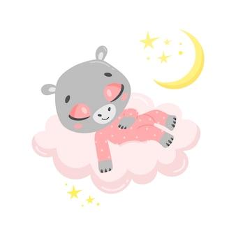 Hipopótamo bonito dos desenhos animados dormindo numa nuvem.
