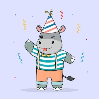 Hipopótamo bonito feliz aniversário com chapéu