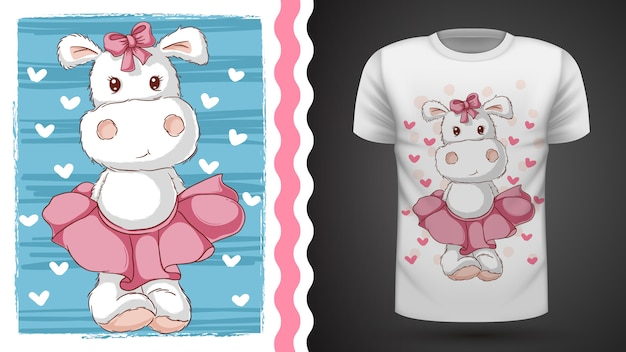 Hipopótamo bonito - idéia para impressão t-shirt
