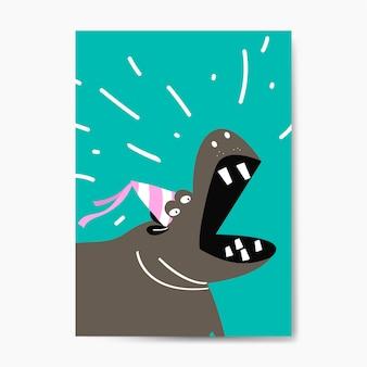 Hipopótamo bonito vestindo um projeto de vetor de desenhos animados de chapéu de festa