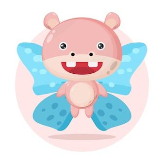 Hipopótamo borboleta personagem fofa