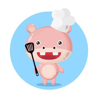 Hipopótamo chef personagem fofo