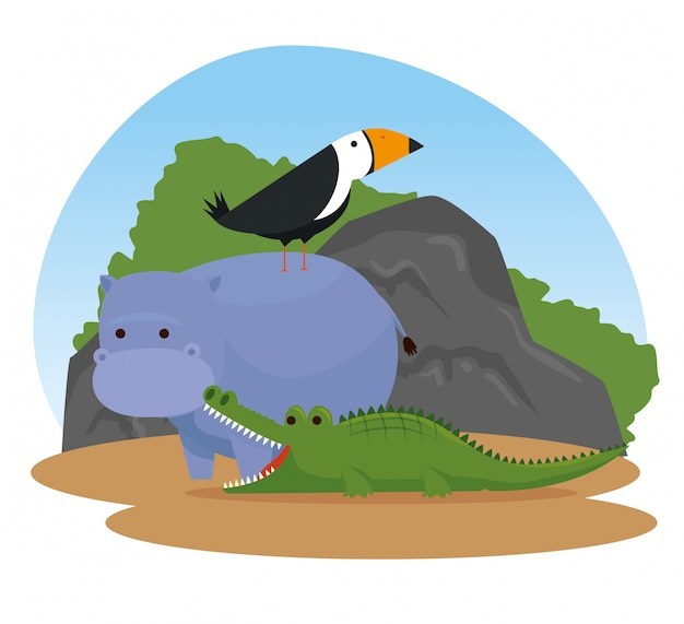 Hipopótamo com animais selvagens de aves e crocodilos