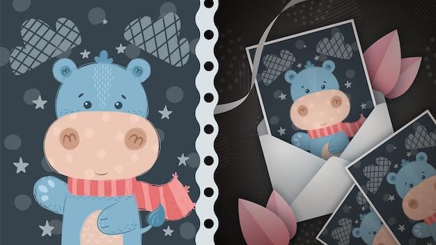 Hipopótamo de inverno - idéia para cartão