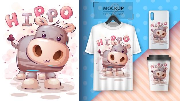 Hipopótamo de pelúcia. cartaz e merchandising
