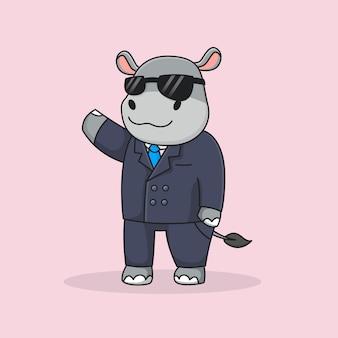 Hipopótamo detetive fofo com terno e óculos