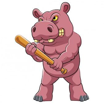 Hipopótamo em pé e segurando um pouco de ilustração de beisebol