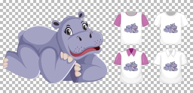 Hipopótamo em posição de personagem de desenho animado com muitos tipos de camisas em fundo transparente