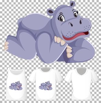Hipopótamo em posição de postura personagem de desenho animado com muitos tipos de camisas