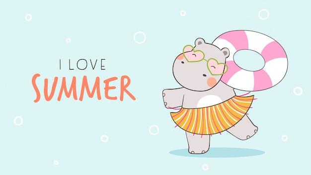 Hipopótamo engraçado com anel de borracha colorido para o verão.