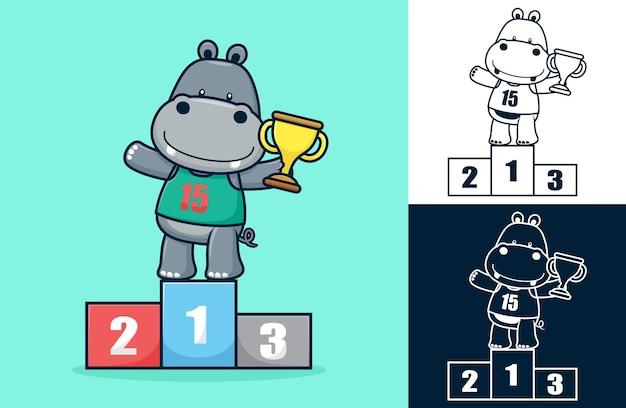 Hipopótamo engraçado no pódio segurando o troféu. ilustração dos desenhos animados em estilo de ícone plano
