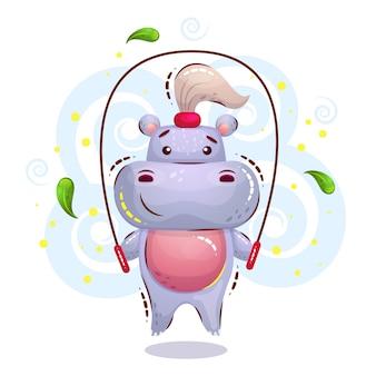 Hipopótamo feminino bonito está envolvido em esportes