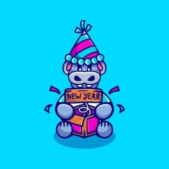 Hipopótamo fofo celebra o ano novo com caixa surpresa piada