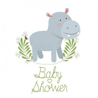 Hipopótamo fofo com cartão de chuveiro de bebê de grinalda Vetor Premium