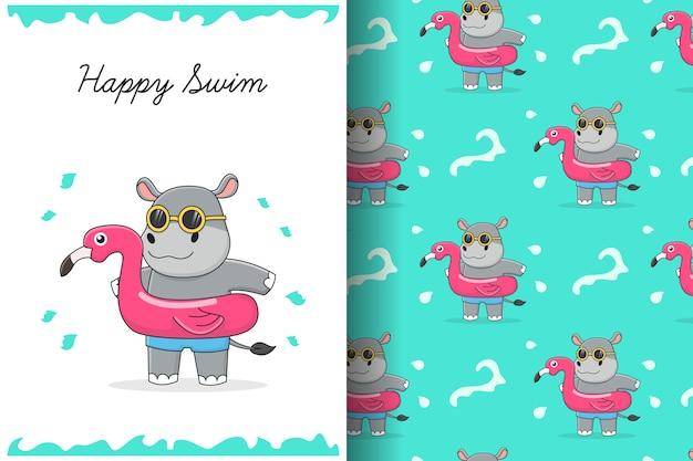 Hipopótamo fofo com cartão e padrão sem emenda de anel de natação de flamingo