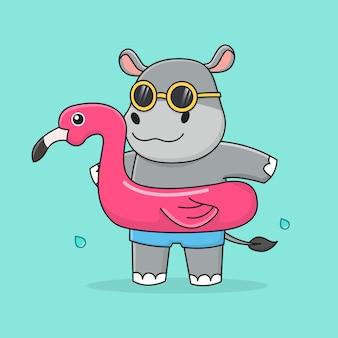 Hipopótamo fofo com flamingo de anel de natação