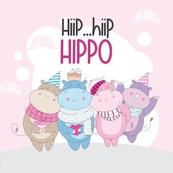 Hipopótamo fofo com um lenço