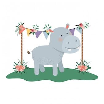 Hipopótamo fofo e adorável com moldura floral
